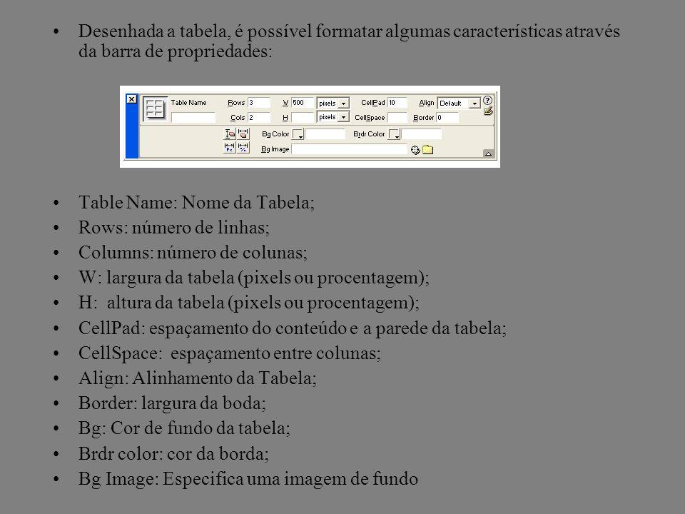 Desenhada a tabela, é possível formatar algumas características através da barra de propriedades: Table Name: Nome da Tabela; Rows: número de linhas;