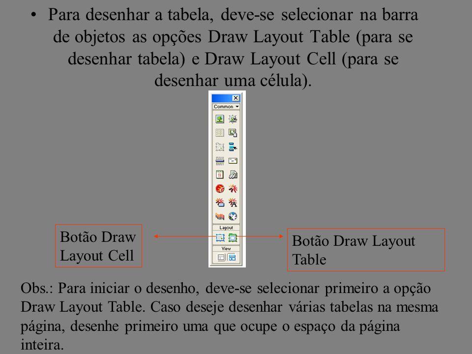 Para desenhar a tabela, deve-se selecionar na barra de objetos as opções Draw Layout Table (para se desenhar tabela) e Draw Layout Cell (para se desen