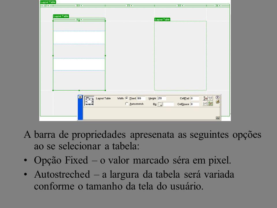 A barra de propriedades apresenata as seguintes opções ao se selecionar a tabela: Opção Fixed – o valor marcado séra em pixel. Autostreched – a largur