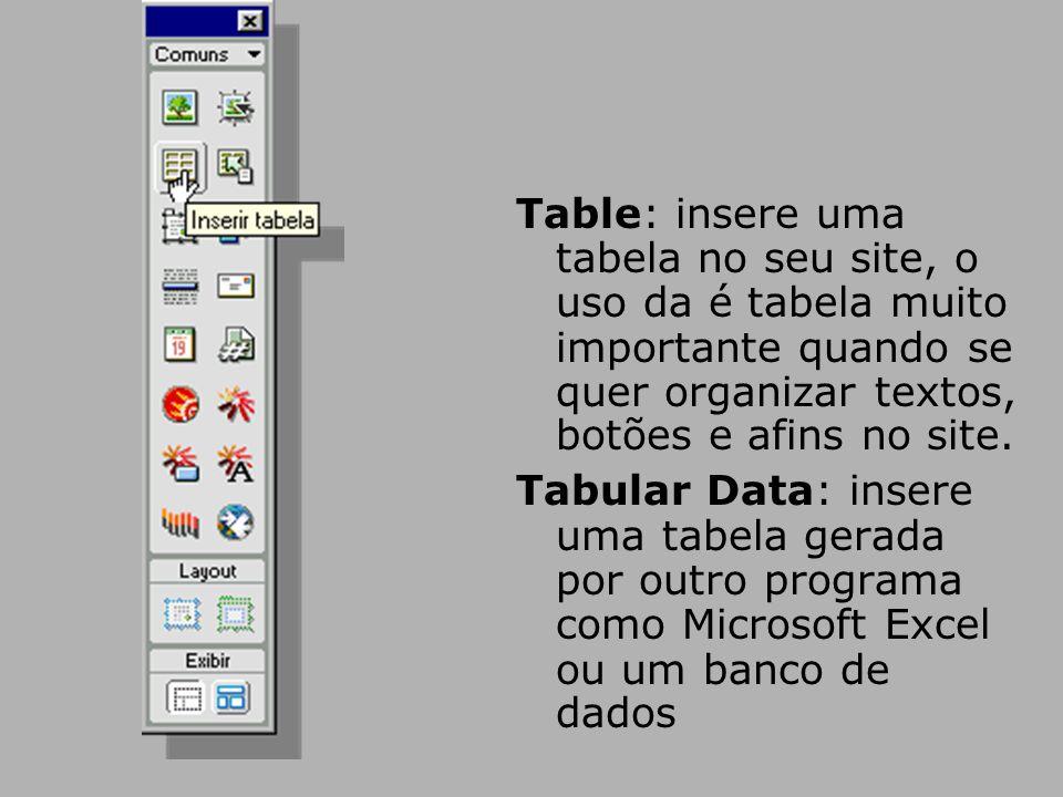 Table: insere uma tabela no seu site, o uso da é tabela muito importante quando se quer organizar textos, botões e afins no site.