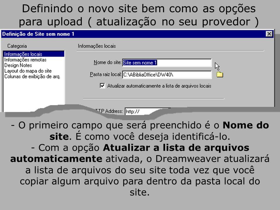 Definindo o novo site bem como as opções para upload ( atualização no seu provedor ) - O primeiro campo que será preenchido é o Nome do site.