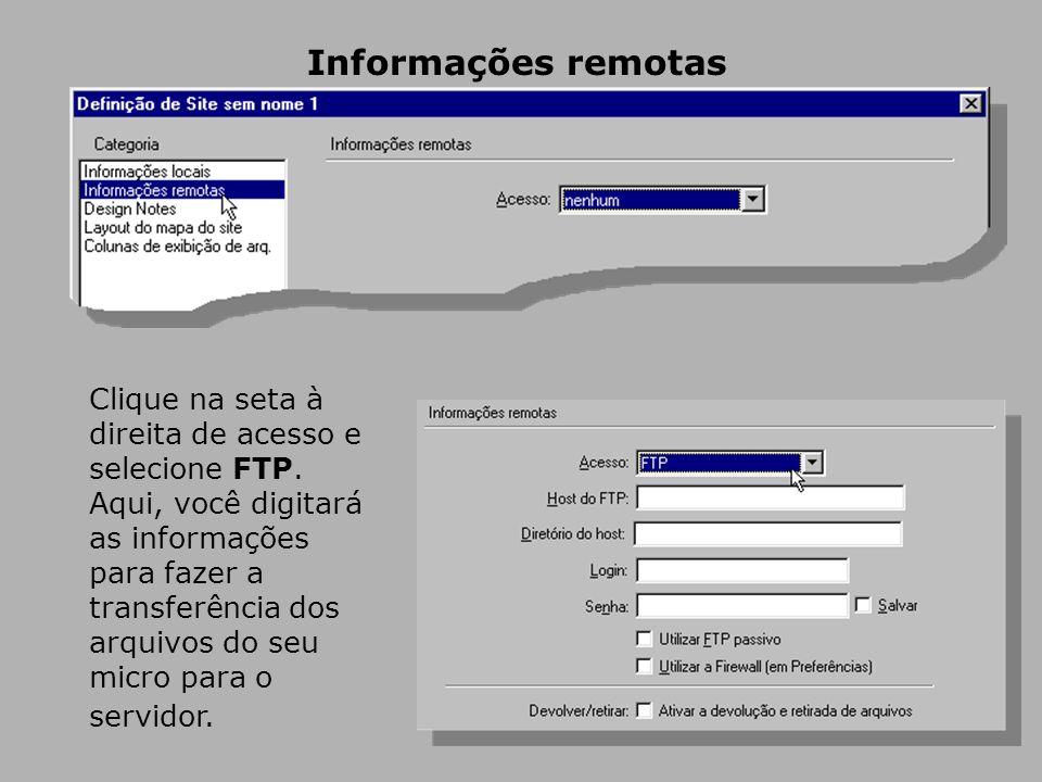 Informações remotas Clique na seta à direita de acesso e selecione FTP.