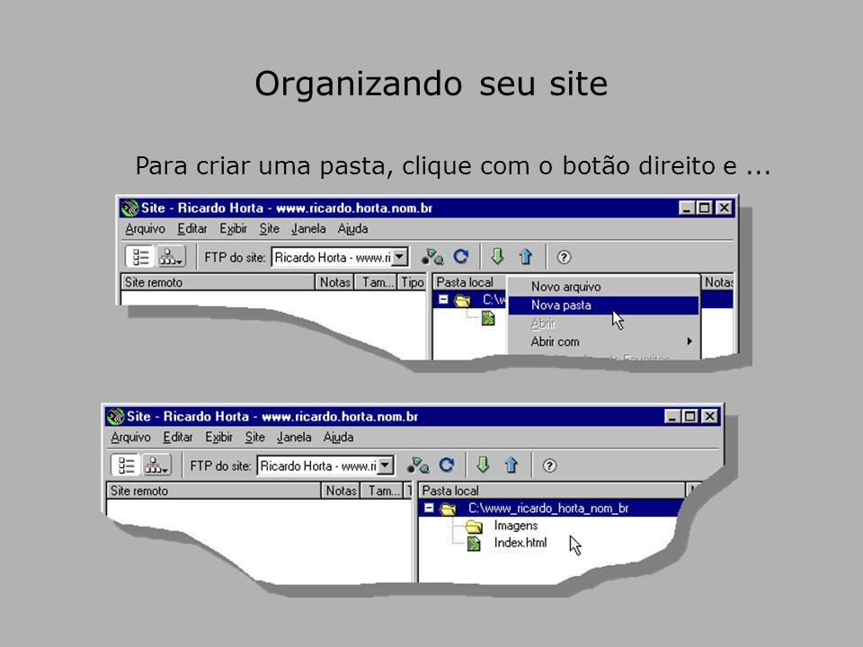 Organizando seu site Para criar uma pasta, clique com o botão direito e...