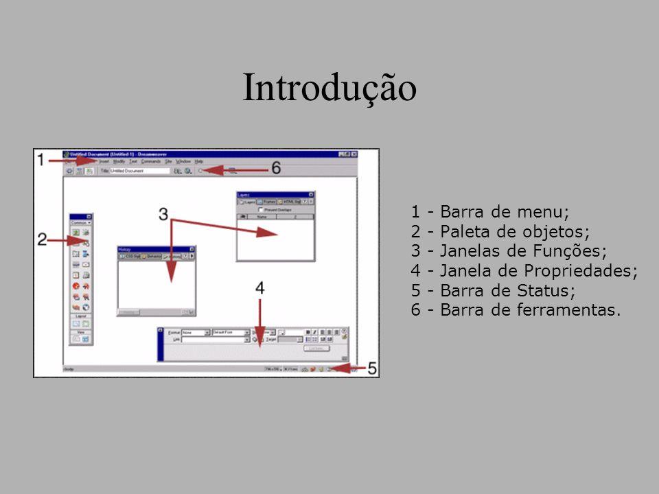 Introdução 1 - Barra de menu; 2 - Paleta de objetos; 3 - Janelas de Funções; 4 - Janela de Propriedades; 5 - Barra de Status; 6 - Barra de ferramentas.