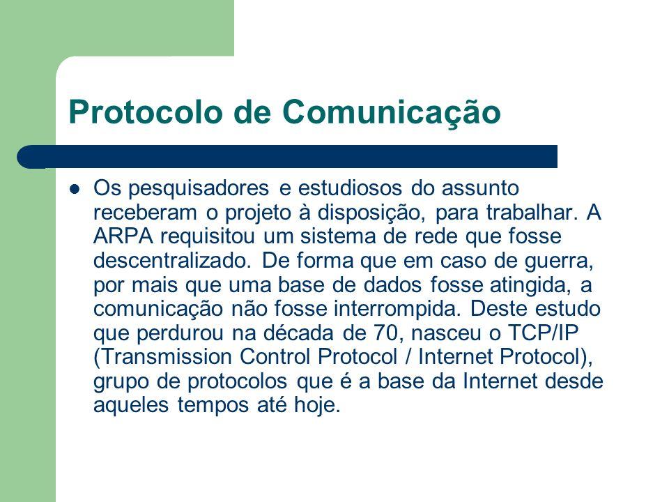TCP/IP A Internet é a mais bem sucedida aplicação prática do conceito de Internetworking, que consiste em conectividade de redes de tecnologias distintas; essa conectividade foi conseguida pelo uso do conjunto de protocolos conhecido como TCI/IP Protocol Suite, ou simplesmente TCP/IP.Internet O TCP/IP (nome derivados de seus protocolos principais, Transmission Control Protocol / Internet Protocol) executa essa conectividade a nível de rede, o que permite a comunicação entre aplicações em computadores de redes distintas sem a necessidade de conhecimento da topologia envolvida nesse processo.