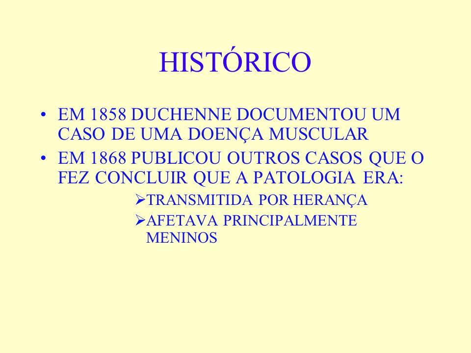 HISTÓRICO EM 1858 DUCHENNE DOCUMENTOU UM CASO DE UMA DOENÇA MUSCULAR EM 1868 PUBLICOU OUTROS CASOS QUE O FEZ CONCLUIR QUE A PATOLOGIA ERA: TRANSMITIDA