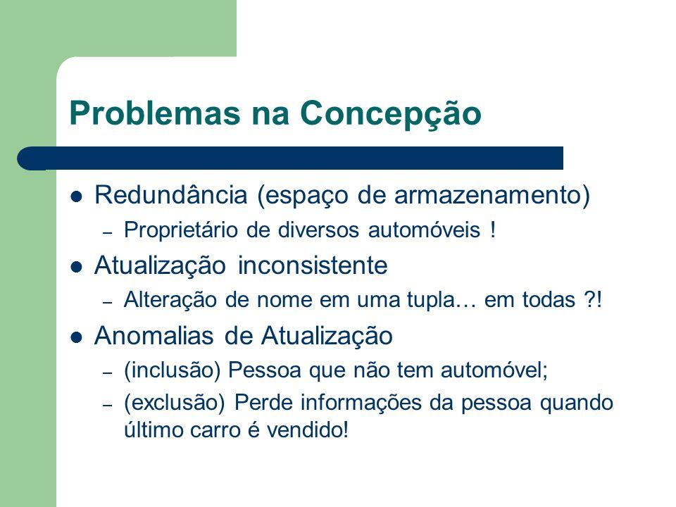 Problemas na Concepção Redundância (espaço de armazenamento) – Proprietário de diversos automóveis ! Atualização inconsistente – Alteração de nome em