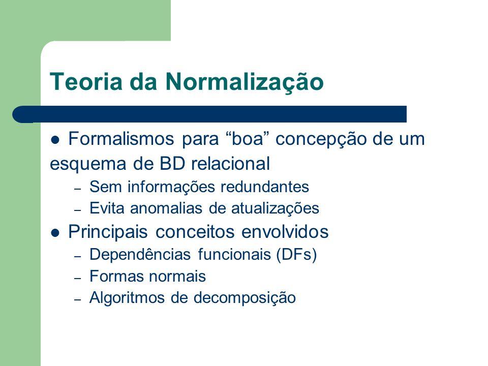 Teoria da Normalização Formalismos para boa concepção de um esquema de BD relacional – Sem informações redundantes – Evita anomalias de atualizações P