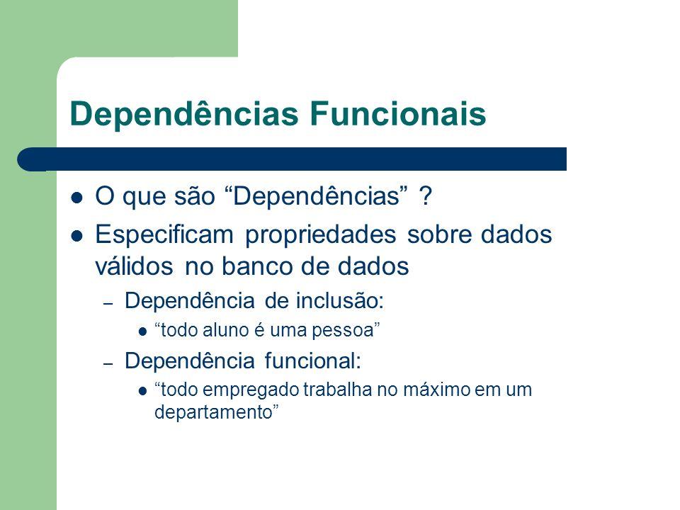 Dependências Funcionais O que são Dependências ? Especificam propriedades sobre dados válidos no banco de dados – Dependência de inclusão: todo aluno