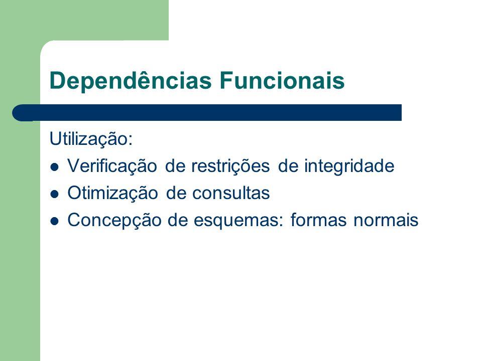 Dependências Funcionais Utilização: Verificação de restrições de integridade Otimização de consultas Concepção de esquemas: formas normais