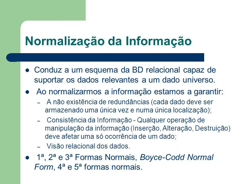Normalização da Informação Conduz a um esquema da BD relacional capaz de suportar os dados relevantes a um dado universo. Ao normalizarmos a informaçã