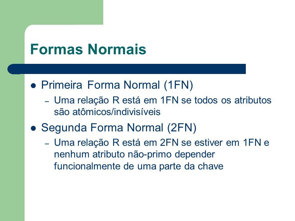 Formas Normais Primeira Forma Normal (1FN) – Uma relação R está em 1FN se todos os atributos são atômicos/indivisíveis Segunda Forma Normal (2FN) – Um