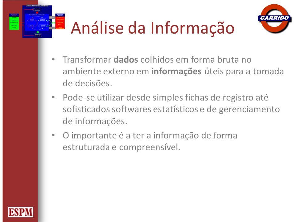 Análise da Informação Transformar dados colhidos em forma bruta no ambiente externo em informações úteis para a tomada de decisões. Pode-se utilizar d