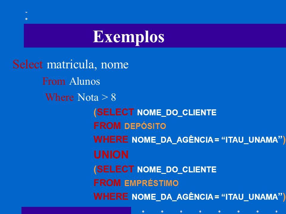 Por ser uma linguagem de inúmeras aplicações, a SQL pode manipular objetos de diferentes classes entre as funções de um SGBD: -Linguagem de Definição