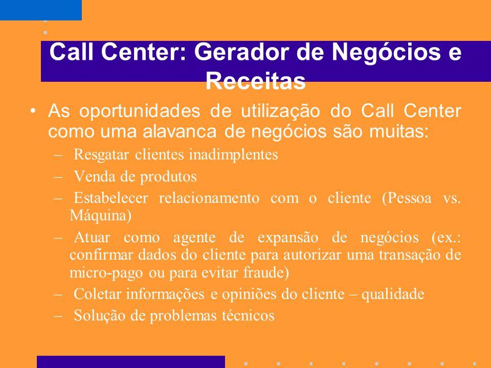Call Centers: Mudanças em Curso Surgirá o Call Center Ativo, que passa também a coletar informações dos clientes e a utilizá-las para alavancar vendas