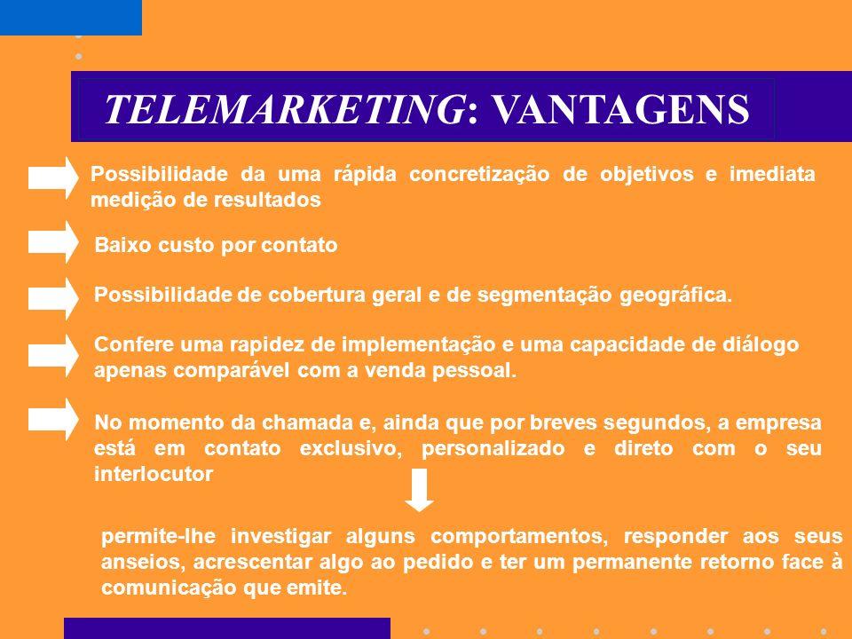 TELEMARKETING Engloba todo o tipo de ações de marketing direto cuja implementação envolve meios de telecomunicações e constitui o meio mais adaptável