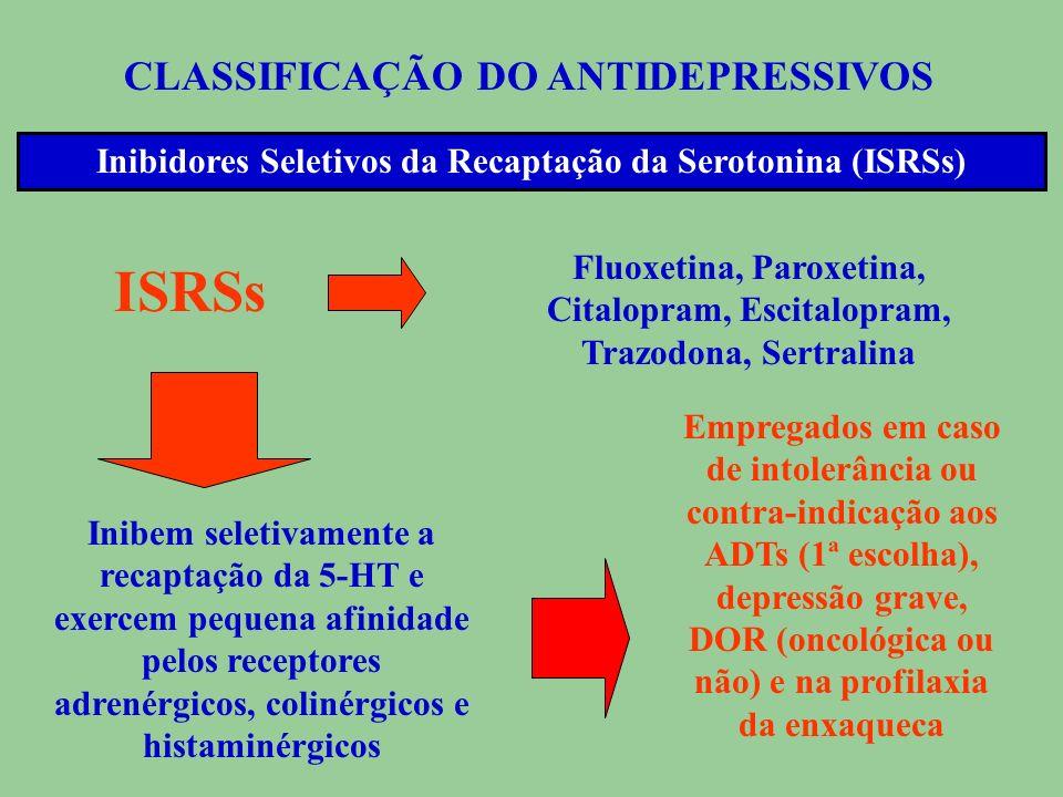 CLASSIFICAÇÃO DO ANTIDEPRESSIVOS Inibidores de Monoaminoxidases (IMAOs) IMAOs Inibem a MAO (válvula de segurança que inativa o excesso de neurotrans-