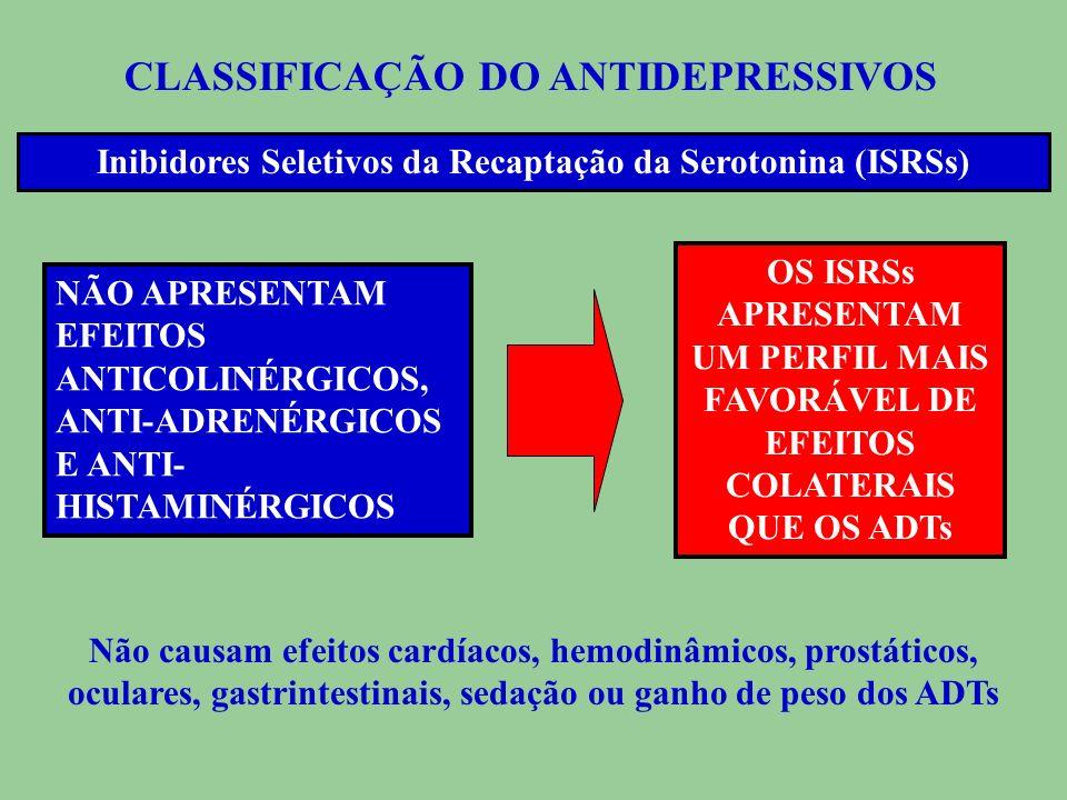 CLASSIFICAÇÃO DO ANTIDEPRESSIVOS Inibidores Seletivos da Recapta ç ão da Serotonina (ISRSs) ISRSs Fluoxetina, Paroxetina, Citalopram, Escitalopram, Tr
