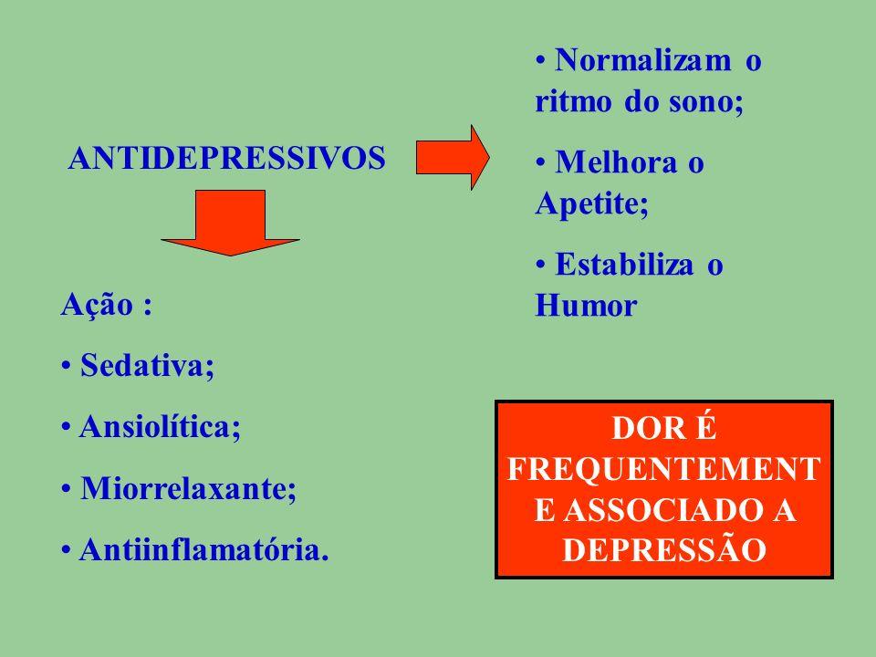 ANTIDEPRESSIVOS OU Agentes Psicotrópicos Efeitos Benéficos Sobre a DOR Sobre a DEPRESSÃO Dor Crônica Dor Neuropática; Dor Nociceptiva Profilaxia da Mi