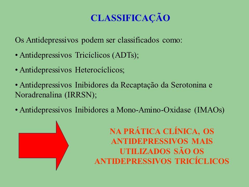 CLASSIFICAÇÃO Os Antidepressivos podem ser classificados como: Antidepressivos Tricíclicos (ADTs); Antidepressivos Heterocíclicos; Antidepressivos Inibidores da Recaptação da Serotonina e Noradrenalina (IRRSN); Antidepressivos Inibidores a Mono-Amino-Oxidase (IMAOs) NA PRÁTICA CLÍNICA, OS ANTIDEPRESSIVOS MAIS UTILIZADOS SÃO OS ANTIDEPRESSIVOS TRICÍCLICOS