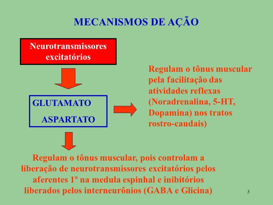 3 MECANISMOS DE AÇÃO Neurotransmissores excitat ó rios GLUTAMATO ASPARTATO Regulam o tônus muscular, pois controlam a liberação de neurotransmissores