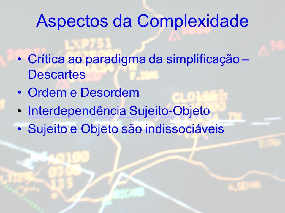 Aspectos da Complexidade Crítica ao paradigma da simplificação – Descartes Ordem e Desordem Interdependência Sujeito-Objeto Sujeito e Objeto são indis