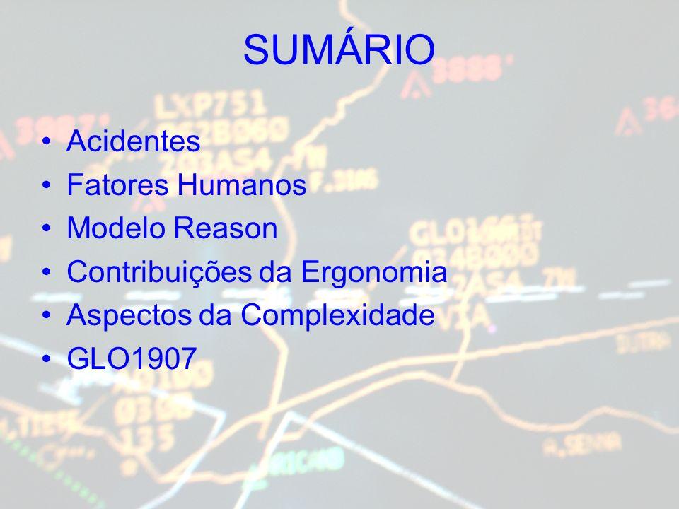 SUMÁRIO Acidentes Fatores Humanos Modelo Reason Contribuições da Ergonomia Aspectos da Complexidade GLO1907
