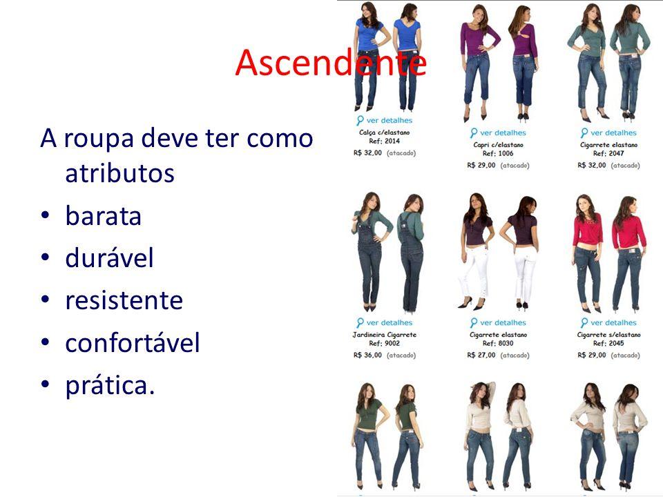 Ascendente A roupa deve ter como atributos barata durável resistente confortável prática.