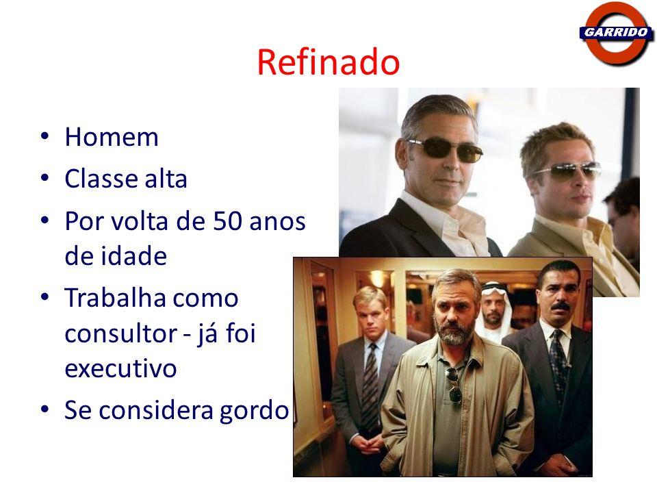 Refinado Homem Classe alta Por volta de 50 anos de idade Trabalha como consultor - já foi executivo Se considera gordo