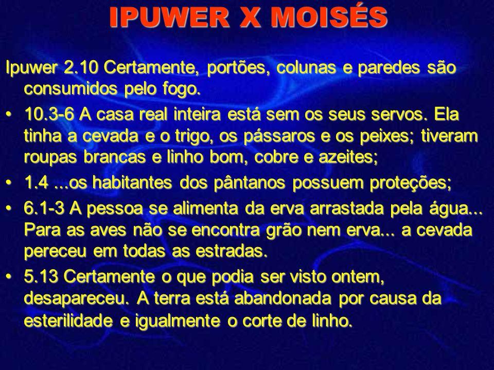 IPUWER X MOISÉS Advertências de Ipuwer: 5.6 Certamente, as palavras mágicas foram descobertas (nas câmaras sagradas), os encantos e os encantamentos e