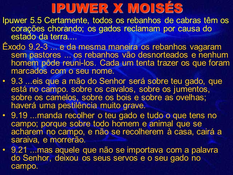 IPUWER X MOISÉS Êxodo 9.23-24...e fogo desceu à terra... havia saraiva e fogo misturado... 9.25-26...a saraiva feriu, em toda a terra do Egito, tudo q