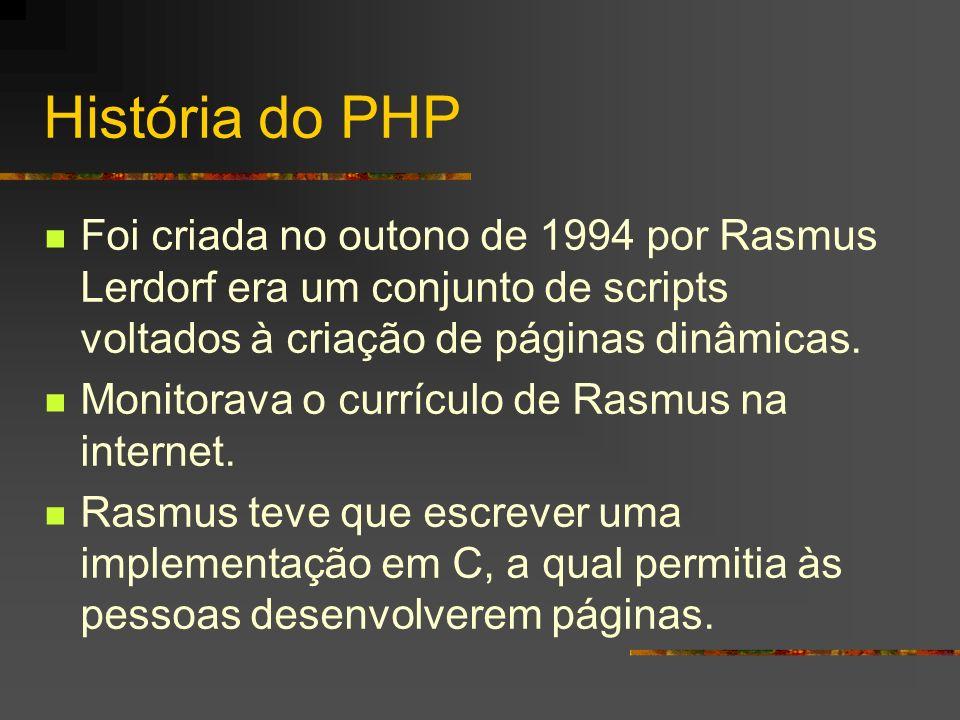 Características do PHP Gratuito e com código aberto www.php.net Manual do php no site acima Ele é embutido no HTML.