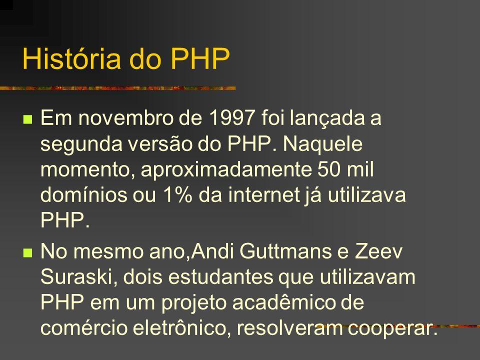 História do PHP Para tanto reescreveram todo o código- fonte com base no PHP/FI2, dando início assim ao PHP3, disponibilizado oficialmente em junho de 1998.