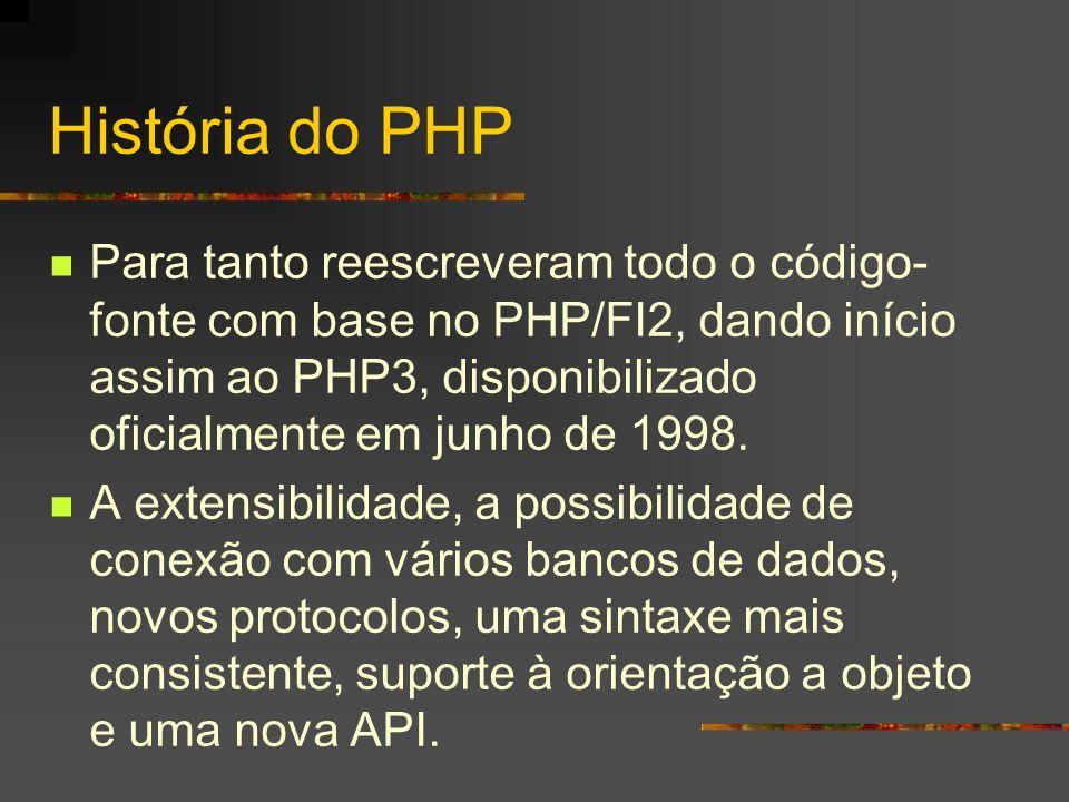 Programas antigos:.php3 -> arquivo PHP contendo um programa PHP versão 3.php4-> Arquivo PHP contendo um programa PHP versão 4..phtml -> Arquivo PHP contendo um programa PHP e Html na mesma página.