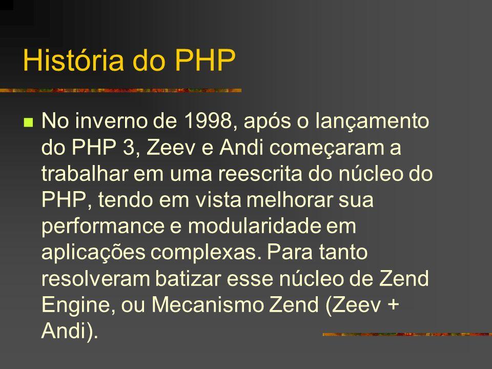 História do PHP O PHP 4, baseado neste mecanismo foi lançado oficialmente em maio de 2000, trazendo melhorias e recursos novos, como seções, suporte a diversos servidores web, além da abstração de sua API, permitindo inclusive ser utilizado como linguagem para shell script.