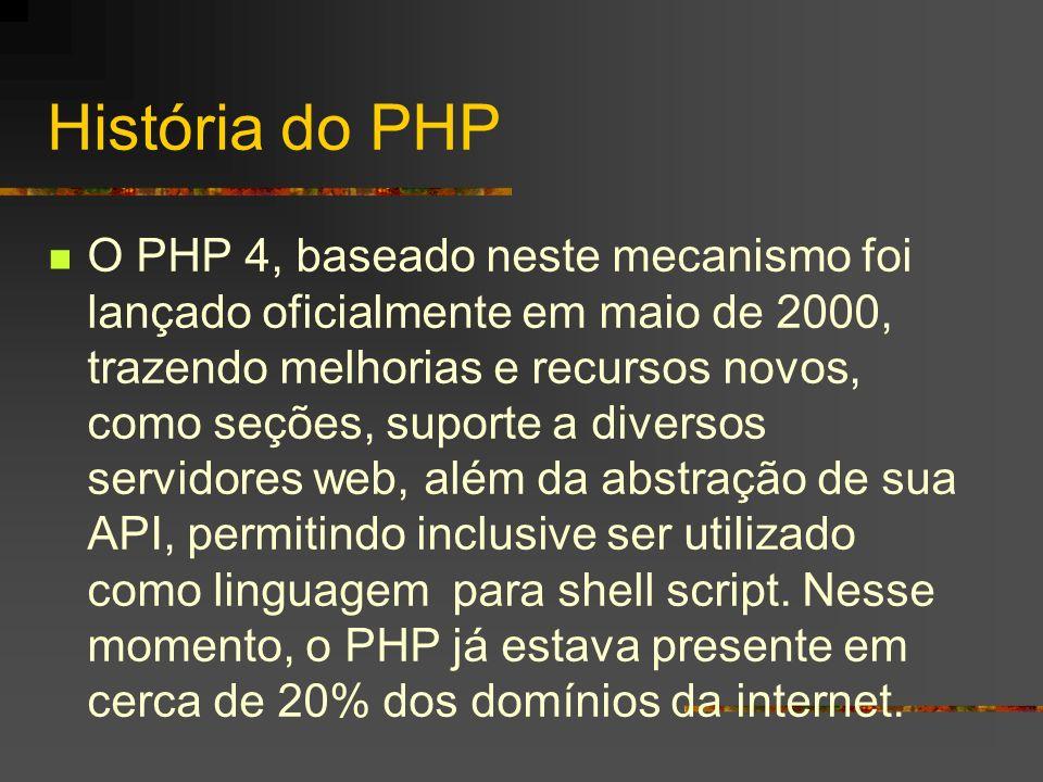 História do PHP Apesar de todos os esforços, o PHP ainda necessitava maior suporte à orientação a objetos, tal qual existe em linguagens como C++ e JAVA.