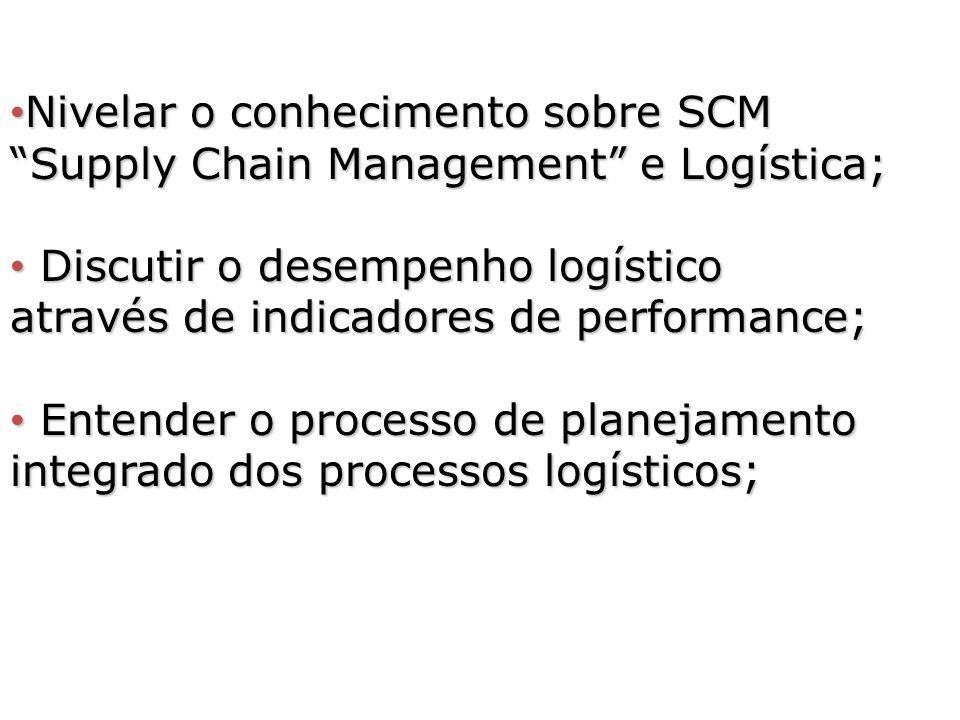 Nivelar o conhecimento sobre SCM Supply Chain Management e Logística; Nivelar o conhecimento sobre SCM Supply Chain Management e Logística; Discutir o