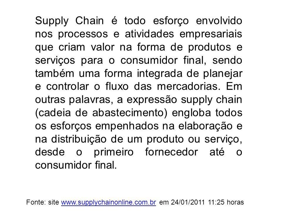 O Supply Chain Management engloba o gerenciamento da oferta e da demanda, matérias-primas, manufatura, acompanhamento de estoque e pedidos, além dos controles de distribuição e entregas.