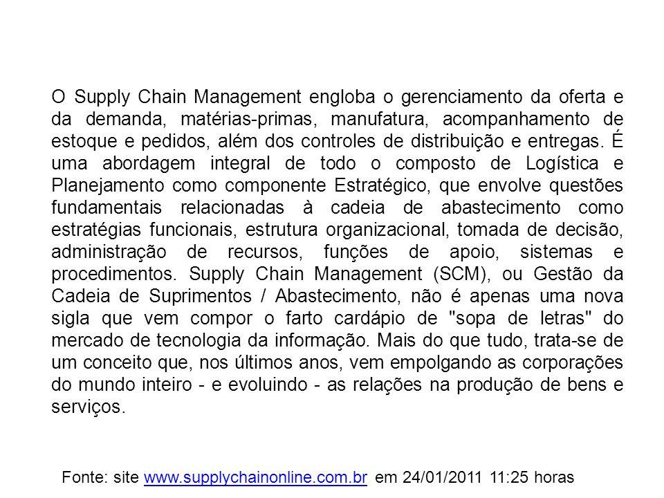 O Supply Chain Management engloba o gerenciamento da oferta e da demanda, matérias-primas, manufatura, acompanhamento de estoque e pedidos, além dos c