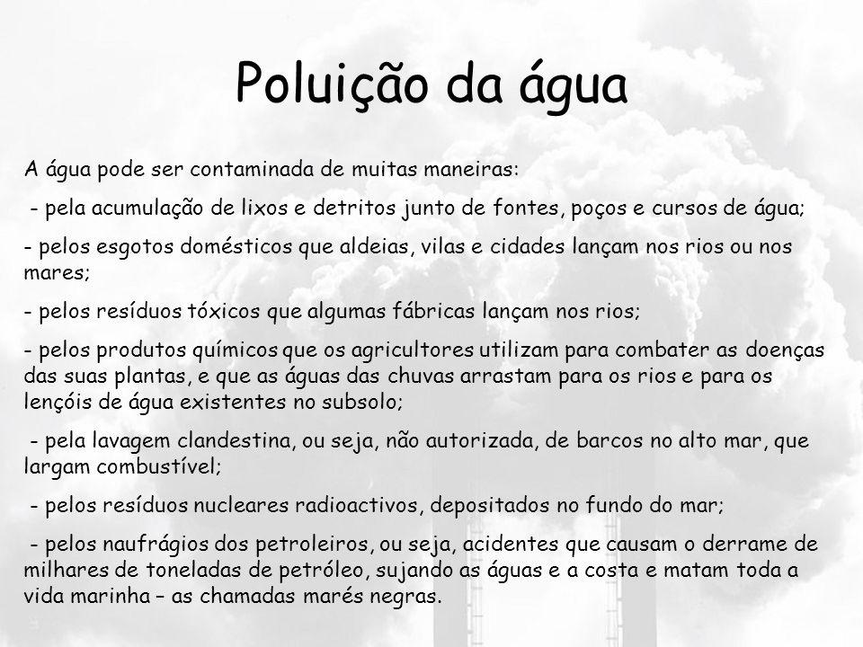 Poluição dos solos A poluição do solo é causada pelos lixos que as pessoas deixam no chão da sua casa, da sua rua, do jardim da sua cidade, do pinhal