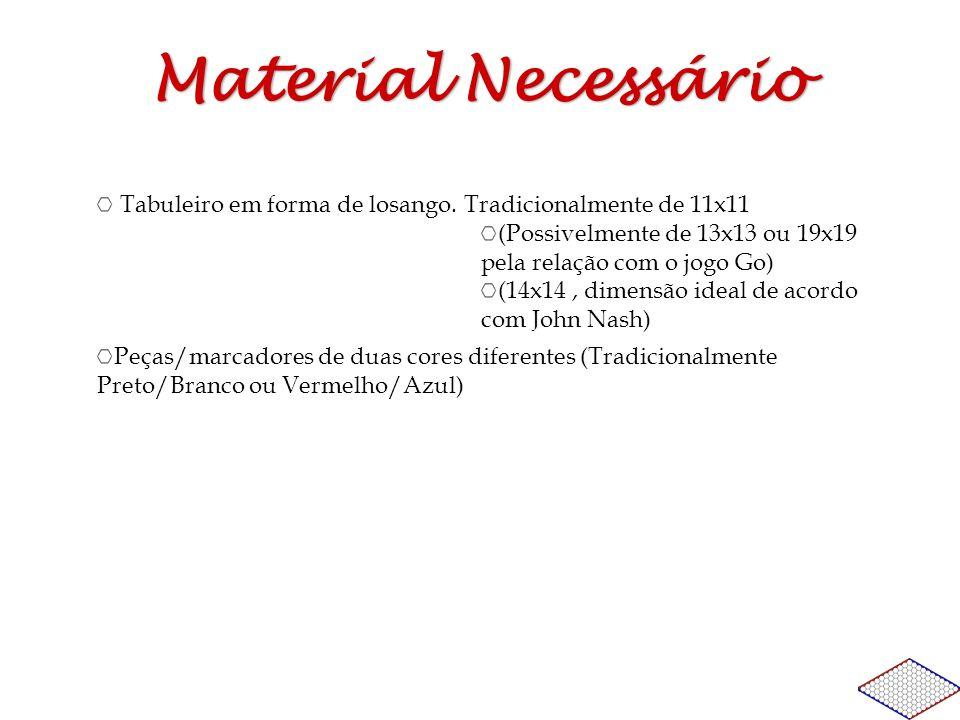 Material Necessário Tabuleiro em forma de losango. Tradicionalmente de 11x11 (Possivelmente de 13x13 ou 19x19 pela relação com o jogo Go) (14x14, dime