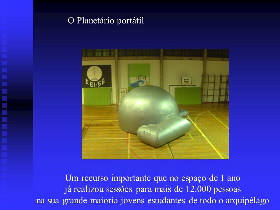 O Planetário portátil Um recurso importante que no espaço de 1 ano já realizou sessões para mais de 12.000 pessoas na sua grande maioria jovens estuda