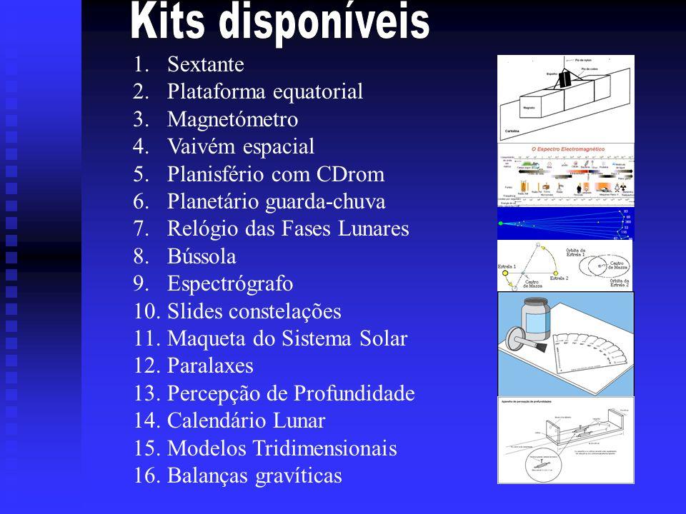 1.Sextante 2.Plataforma equatorial 3.Magnetómetro 4.Vaivém espacial 5.Planisfério com CDrom 6.Planetário guarda-chuva 7.Relógio das Fases Lunares 8.Bú