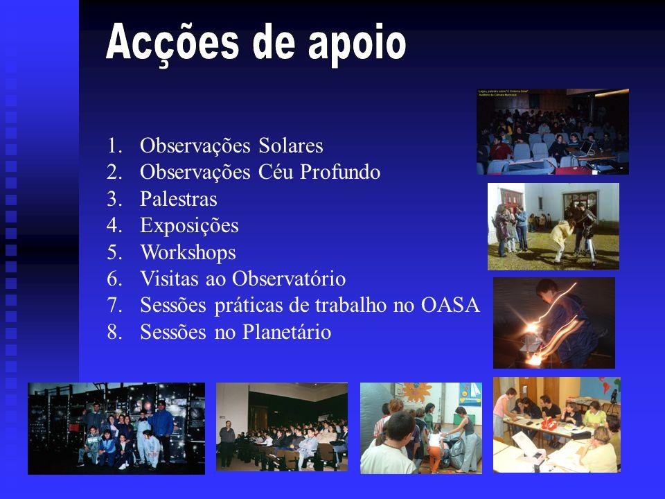 1.Observações Solares 2.Observações Céu Profundo 3.Palestras 4.Exposições 5.Workshops 6.Visitas ao Observatório 7.Sessões práticas de trabalho no OASA