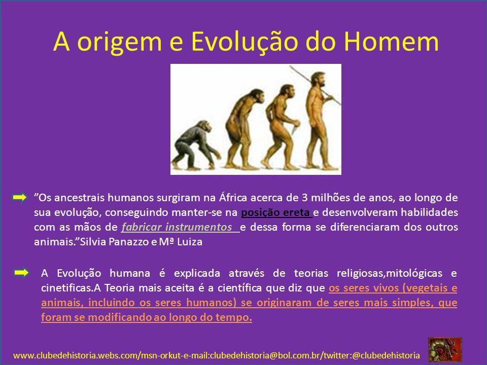 A origem e Evolução do Homem Os ancestrais humanos surgiram na África acerca de 3 milhões de anos, ao longo de sua evolução, conseguindo manter-se na
