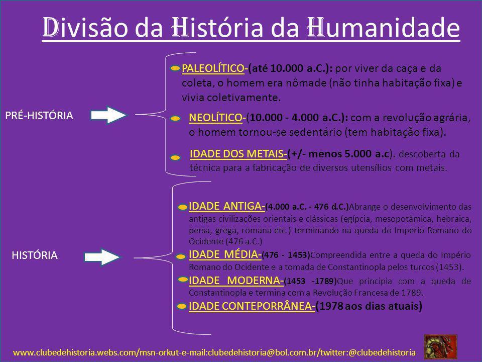 D ivisão da H istória da H umanidade www.clubedehistoria.webs.com/msn-orkut-e-mail:clubedehistoria@bol.com.br/twitter:@clubedehistoria PRÉ-HISTÓRIA HI