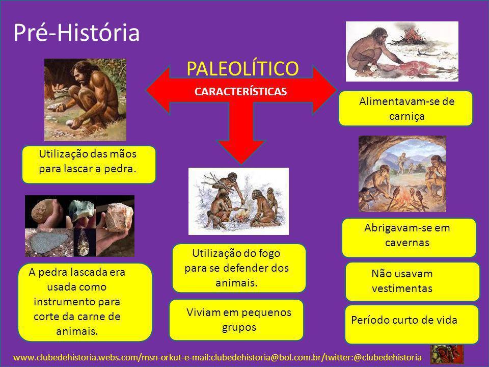 Pré-História www.clubedehistoria.webs.com/msn-orkut-e-mail:clubedehistoria@bol.com.br/twitter:@clubedehistoria PALEOLÍTICO CARACTERÍSTICAS Utilização