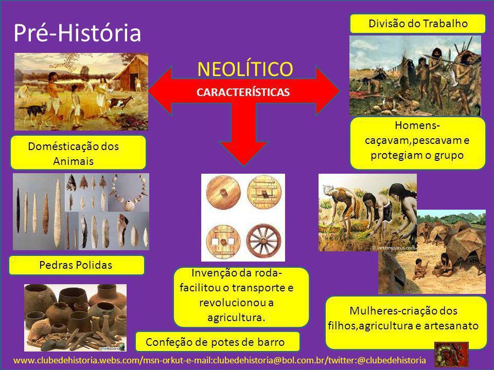 www.clubedehistoria.webs.com/msn-orkut-e-mail:clubedehistoria@bol.com.br/twitter:@clubedehistoria NEOLÍTICO CARACTERÍSTICAS Pré-História Invenção da r