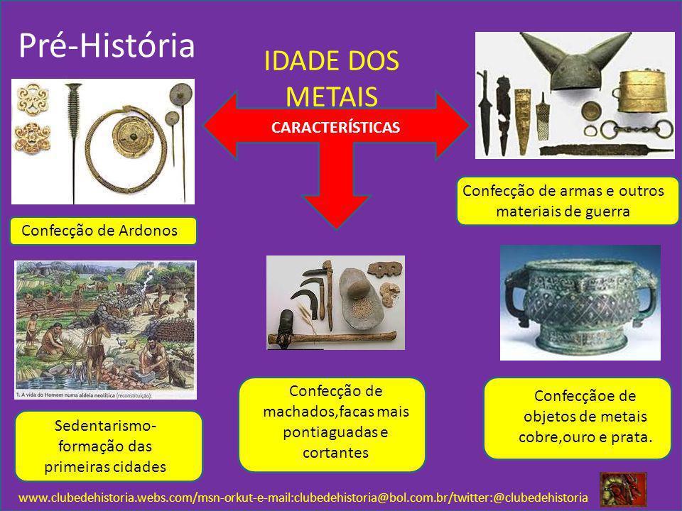 www.clubedehistoria.webs.com/msn-orkut-e-mail:clubedehistoria@bol.com.br/twitter:@clubedehistoria Pré-História IDADE DOS METAIS CARACTERÍSTICAS Confec