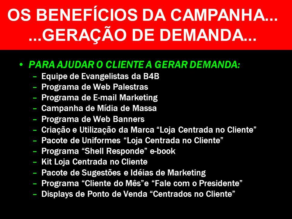 OS BENEFÍCIOS DA CAMPANHA......GERAÇÃO DE DEMANDA... PARA AJUDAR O CLIENTE A GERAR DEMANDA: –Equipe de Evangelistas da B4B –Programa de Web Palestras